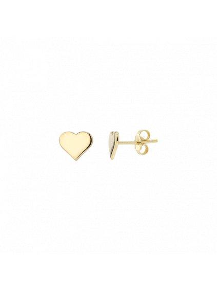 Náušnice Pure Love pozlacené 18kt zlatem se srdíčkem