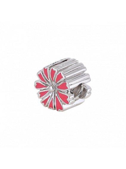 Stříbrný Spirit přívěsek kytička červená