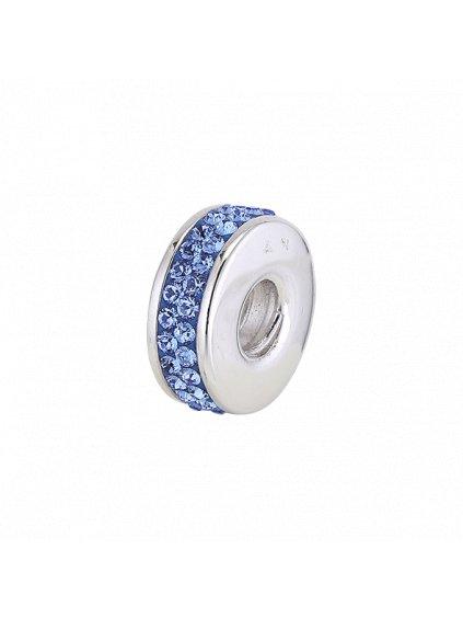 Stříbrný Spirit přívěsek modrý ovál se zirkony