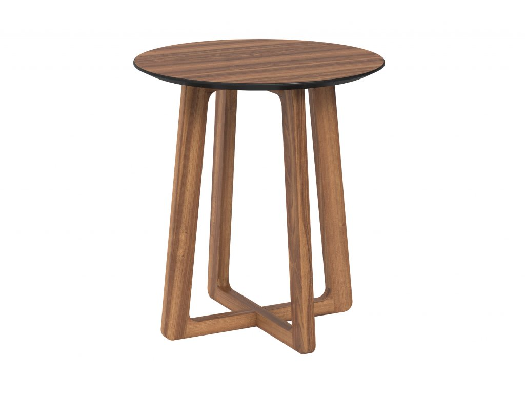 Matteo corner table round 50 veneer walnut walnut side