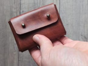 Peněženka malá - hnědá, knoflíky