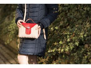 Aneta - proutěná kabelka do ruky červená