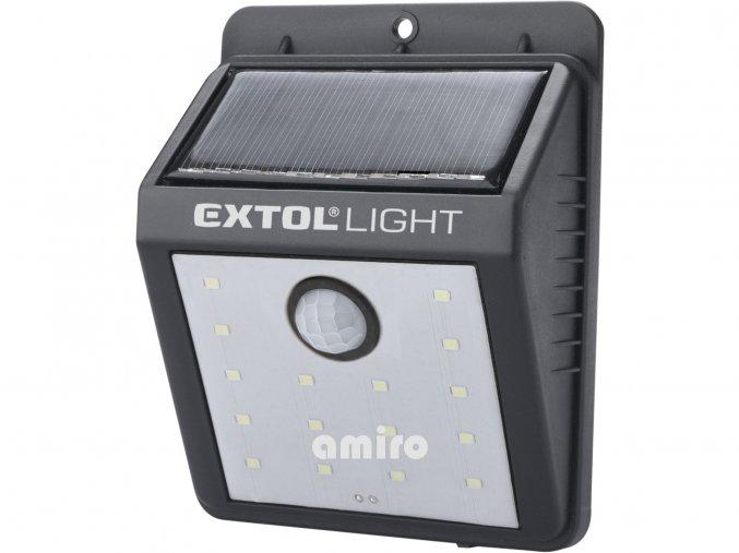 EXTOL LIGHT světlo nástěnné s pohybovým čidlem, 120lm, solární nabíjení 43130