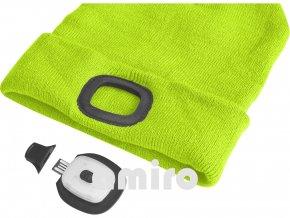 EXTOL LIGHT čepice s čelovkou 45lm, nabíjecí, USB, fluorescentní žlutá, univerzální velikost 43194