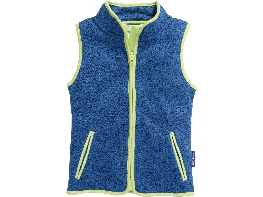 Fleecová vesta pletená modrá