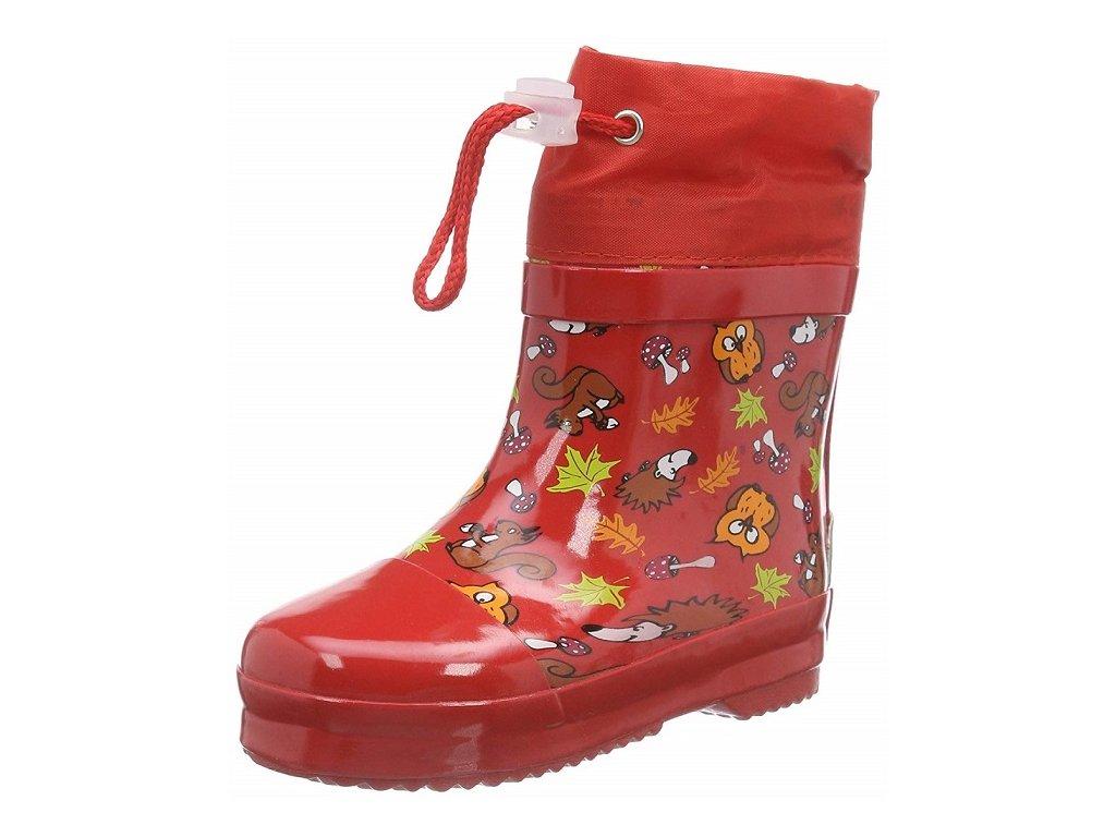 Detské gumáky nízke zateplené Les - červené