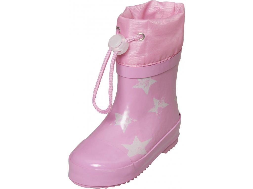 Detské gumáky nízke zateplené Hviezdy  ružové