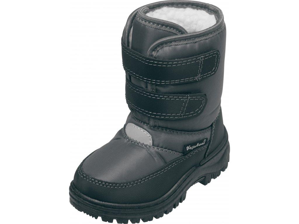 Zimné topánky na suchý zips sivé