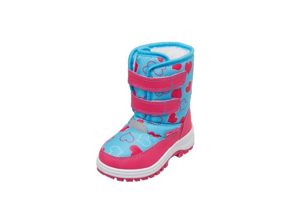 Zimné topánky na suchý zips srdiečkové