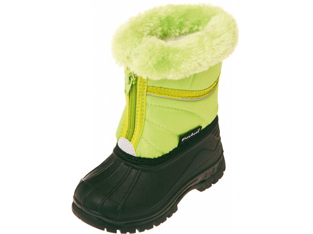 Zimné topánky na zips svetlozelené