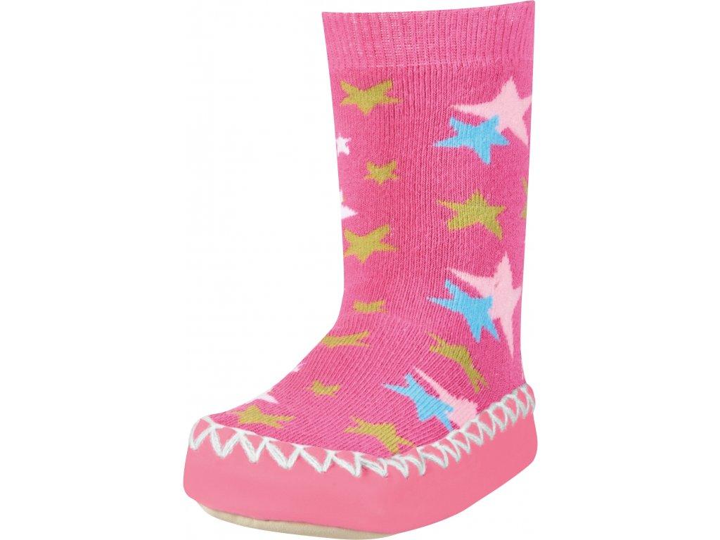 Protišmykové ponožky-papuče Hviezdička ružová