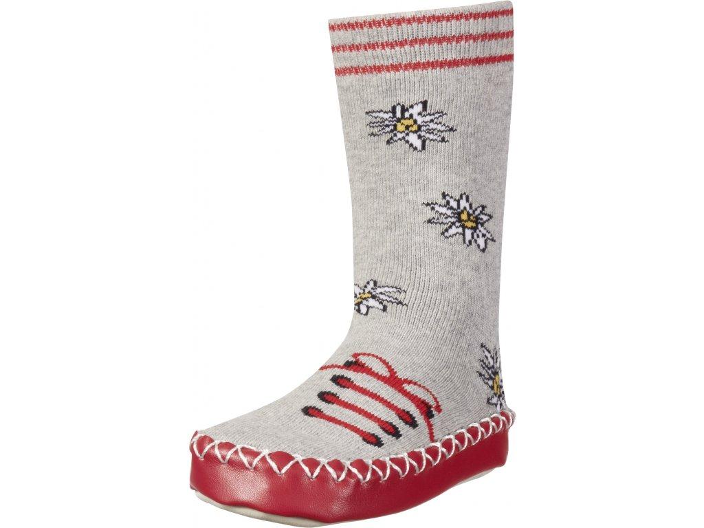 Protišmykové ponožky- papuče Poniklec svetlošedé