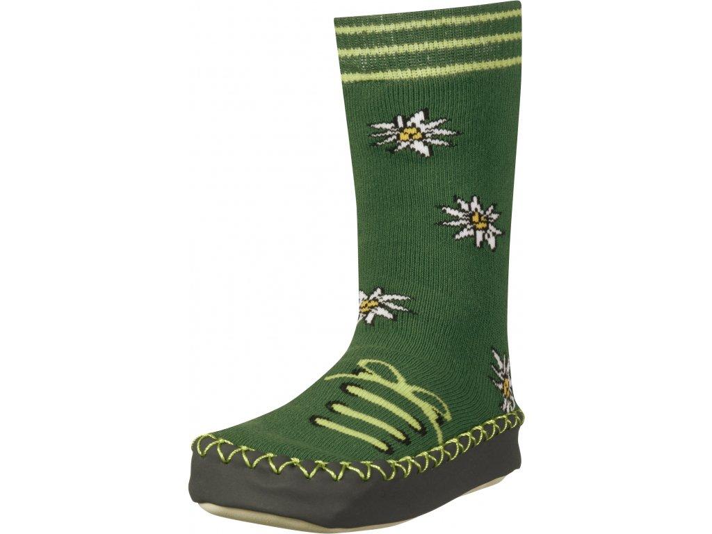 Protišmykové ponožky- papuče Poniklec tmavozelené