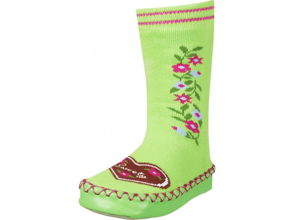 Protišmykové ponožky- papuče Sweety zelené