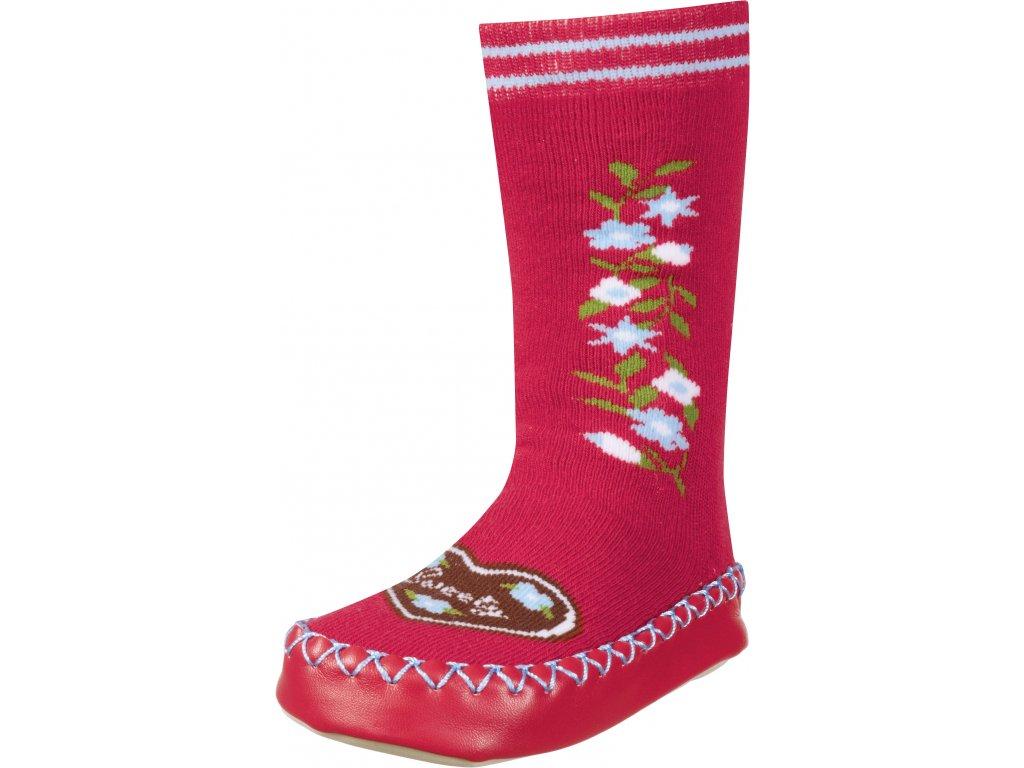 Protišmykové ponožky- papuče Sweety červené