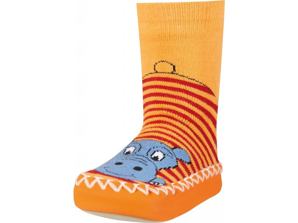 Protišmykové ponožky-papuče Hroch oranžové