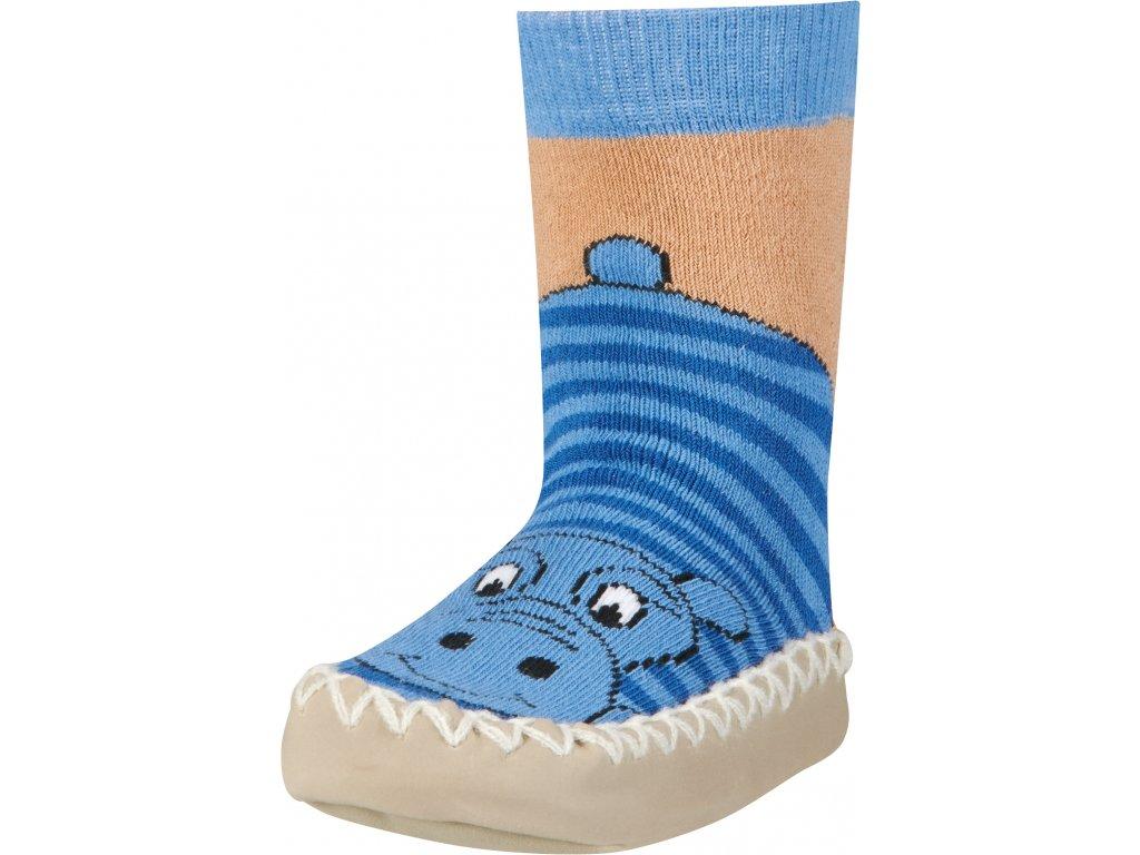 Protišmykové ponožky-papuče Hroch modré
