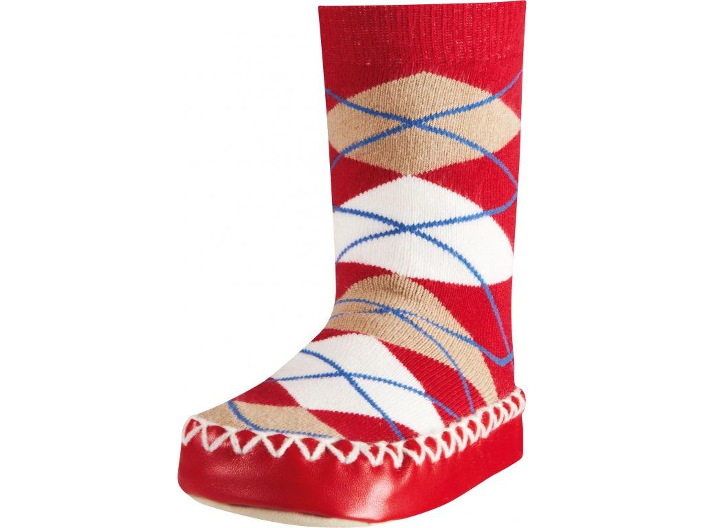 Protišmykové ponožky-papuče Káro červené
