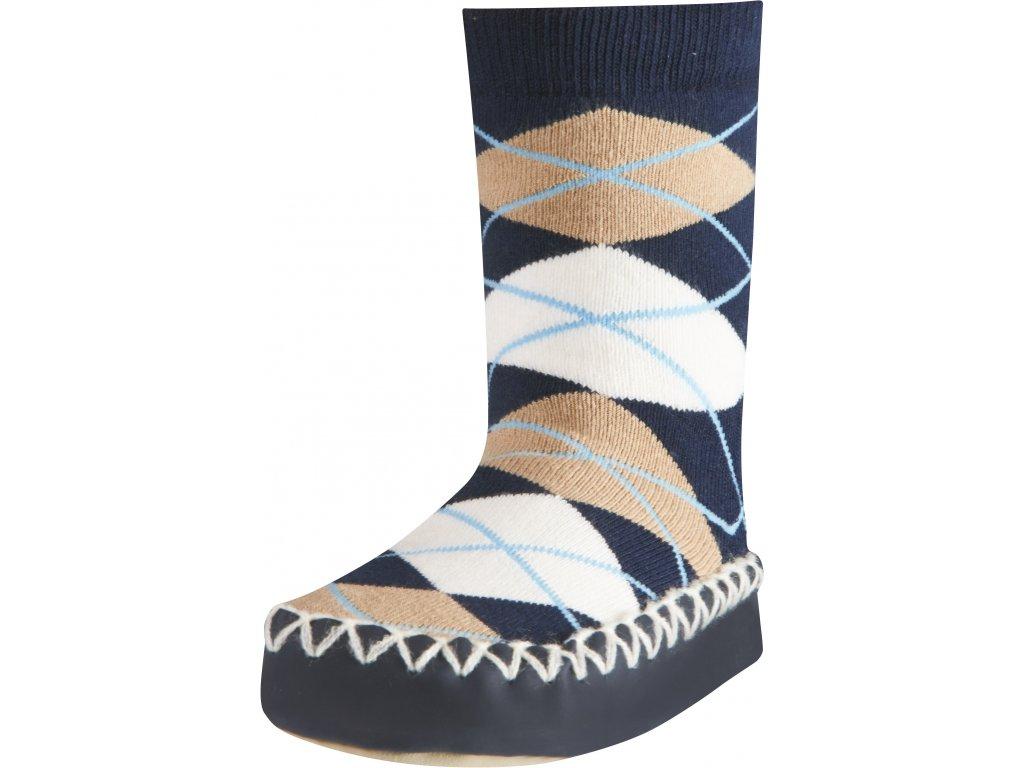 Protišmykové ponožky-papuče Káro modré