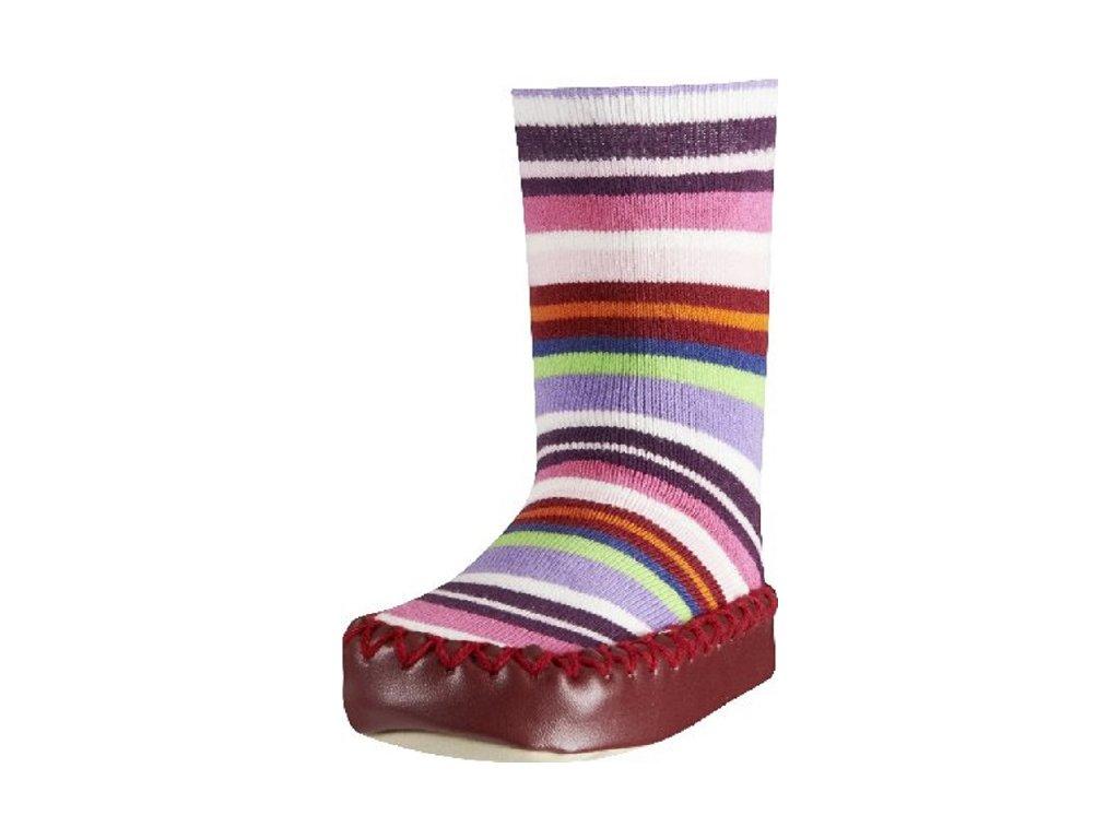 Protišmykové ponožky-papuče s pásikmi červené
