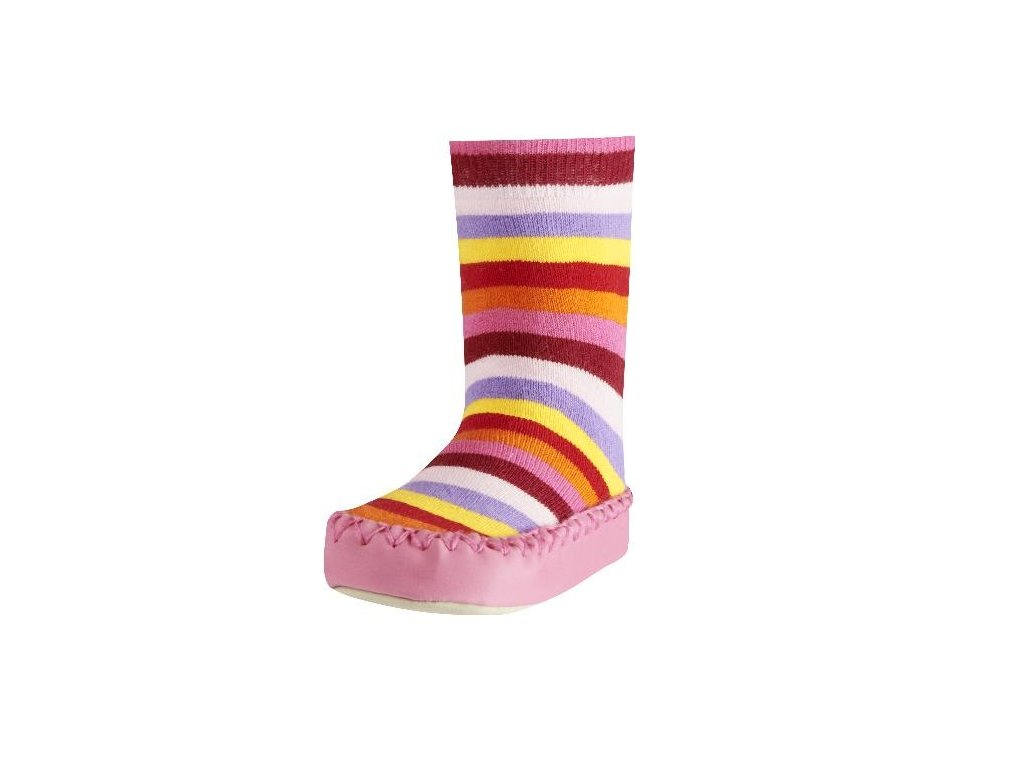 Protišmykové ponožky-papuče s pásikmi ružové