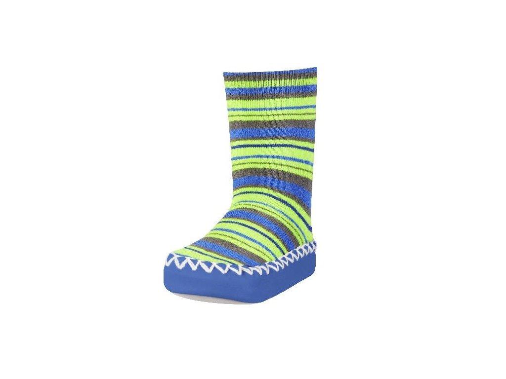 Protišmykové ponožky-papuče s pásikmi modré