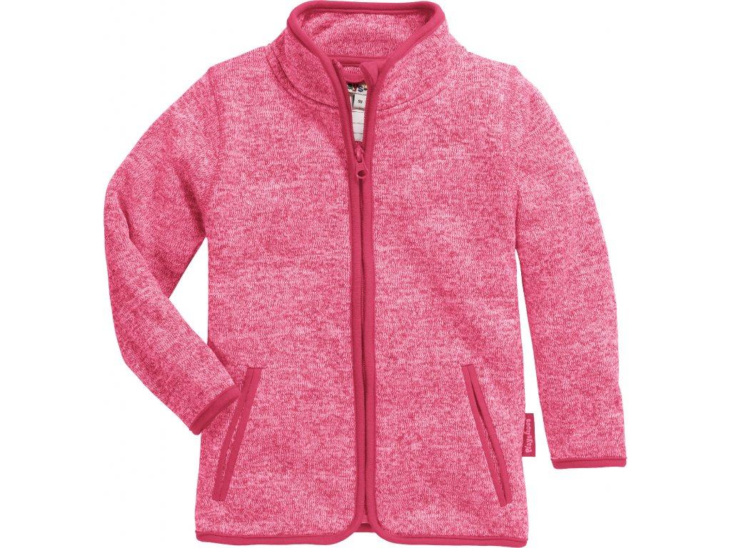 Fleecová mikina pletená ružová