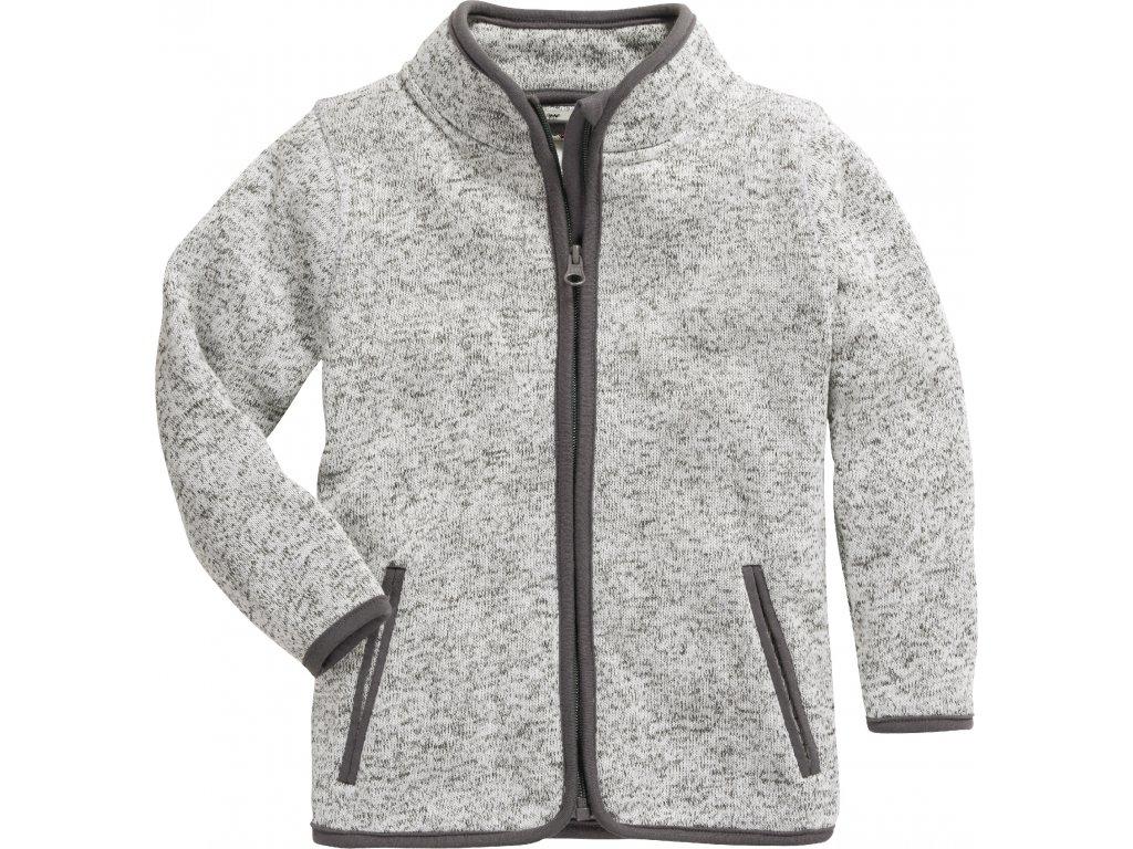 Fleecová mikina pletená sivá