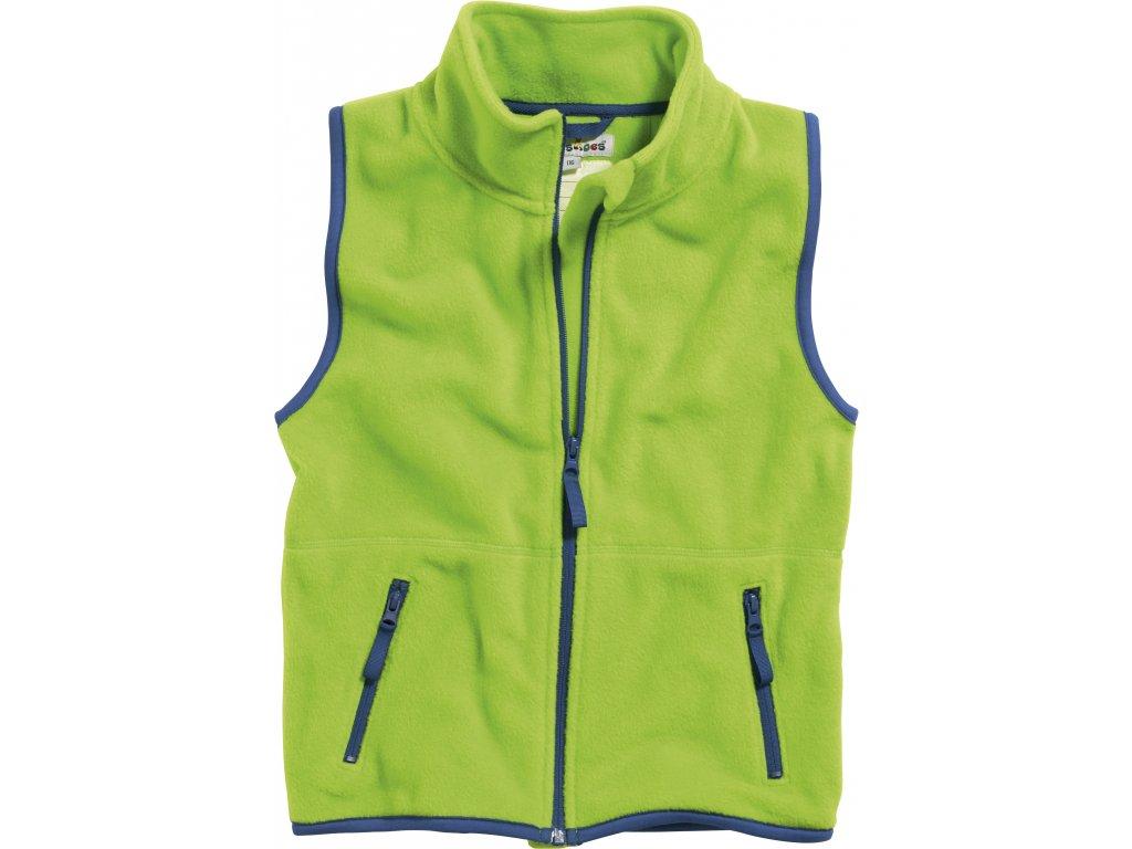 Fleecová vesta s lemovaním zelená