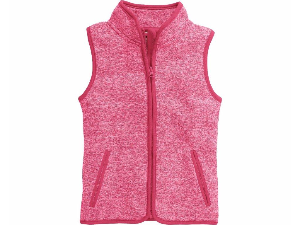Fleecová vesta pletená ružová