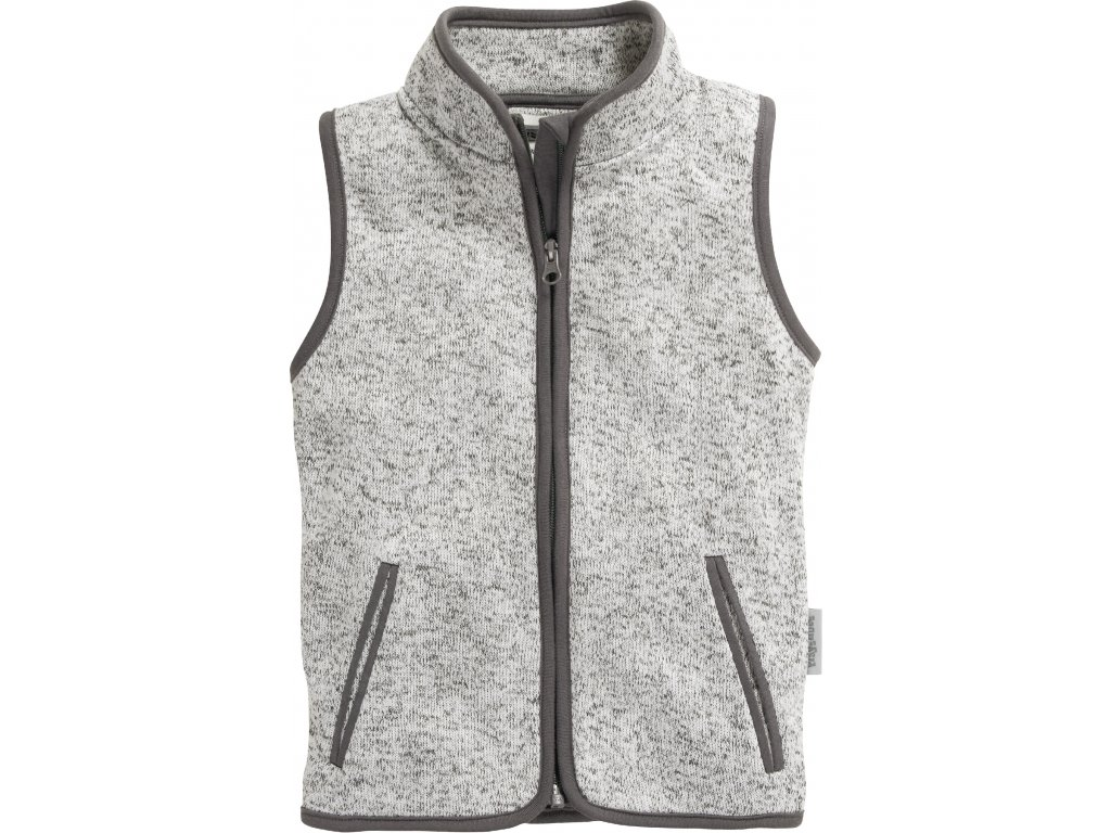 Fleecová vesta pletená sivá