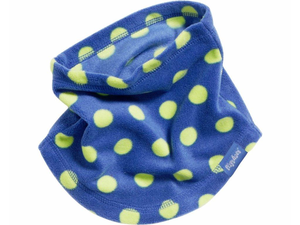 Fleecový nákrčník bodkovaný modrý
