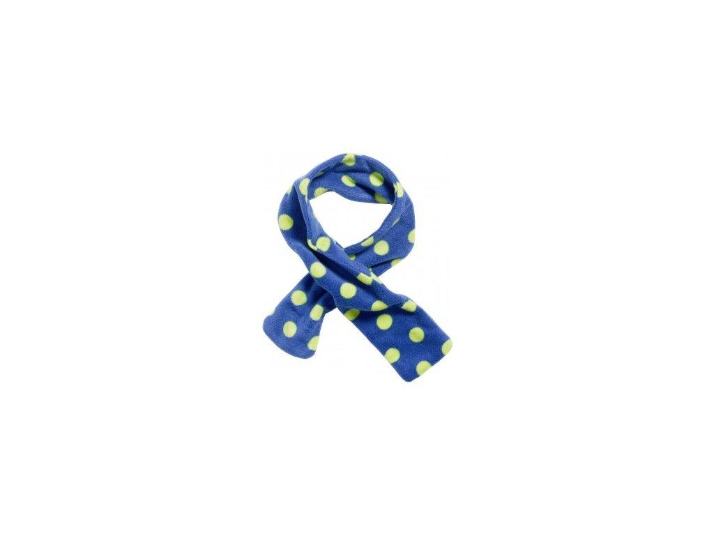 Fleecový prevliekací šál bodkovaný modrý