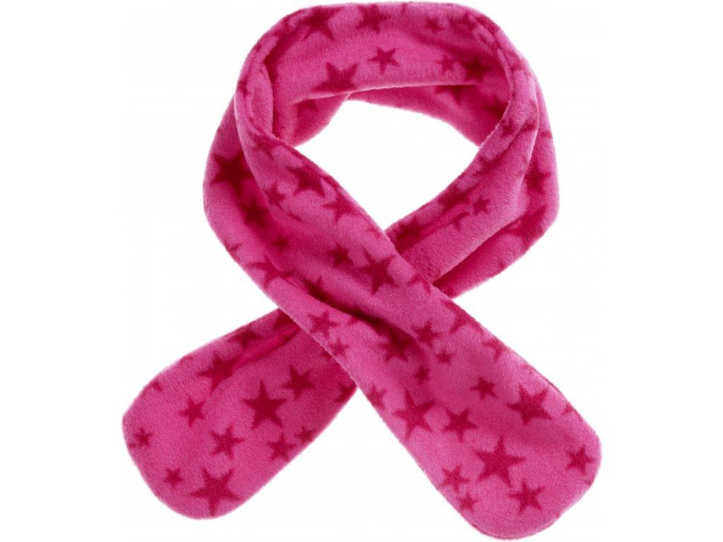 Fleecový prevliekací šál hviezdičkový ružový