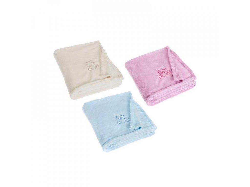 PLAYSHOES Fleecová deka Macík - 3 farby 100x150, farba: svetloružová