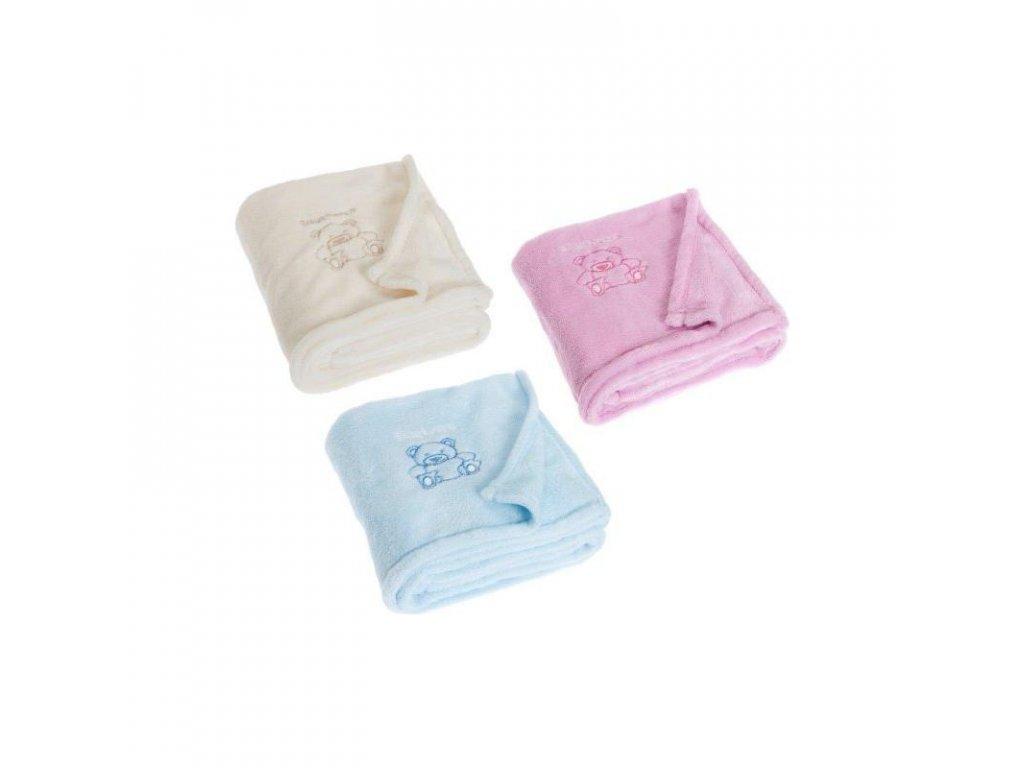 PLAYSHOES Fleecová deka Macík - 3 farby, farba: svetloružová