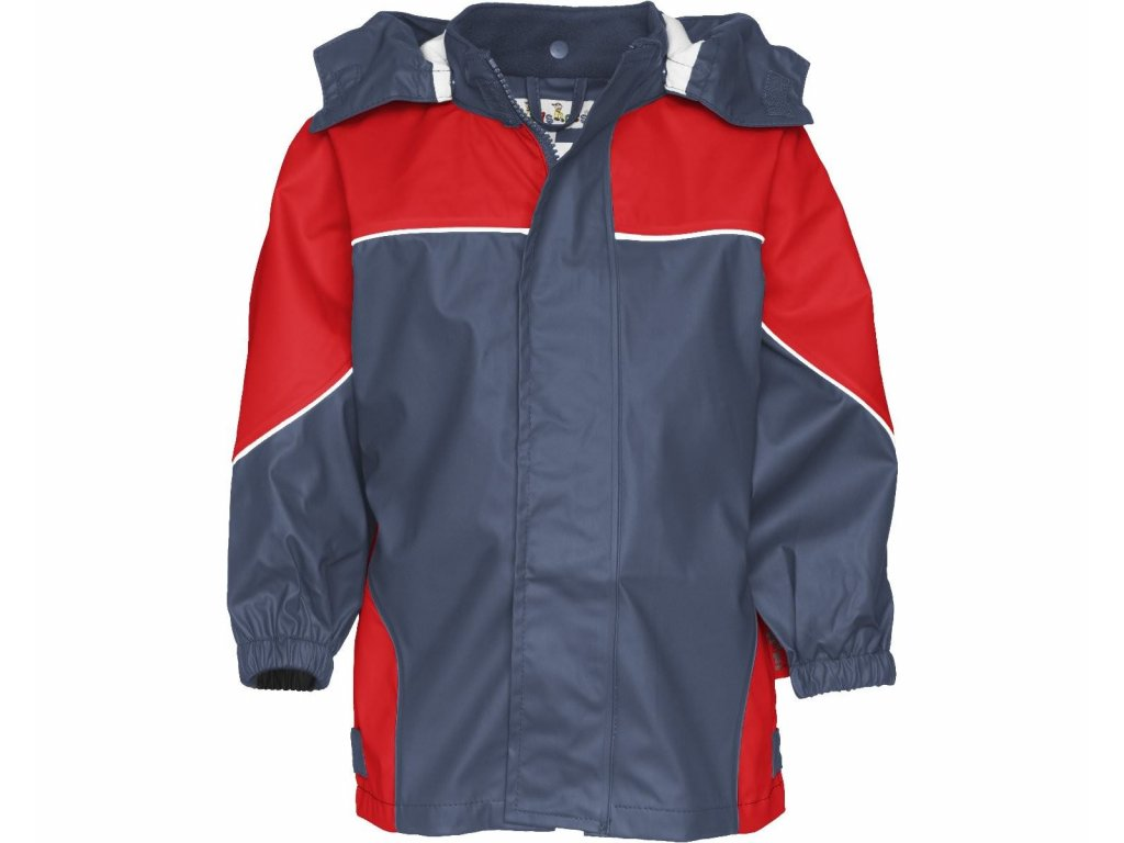Dvojfarebná bunda do dažďa červená