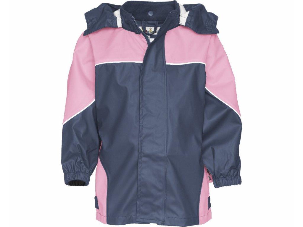 Dvojfarebná bunda do dažďa ružová