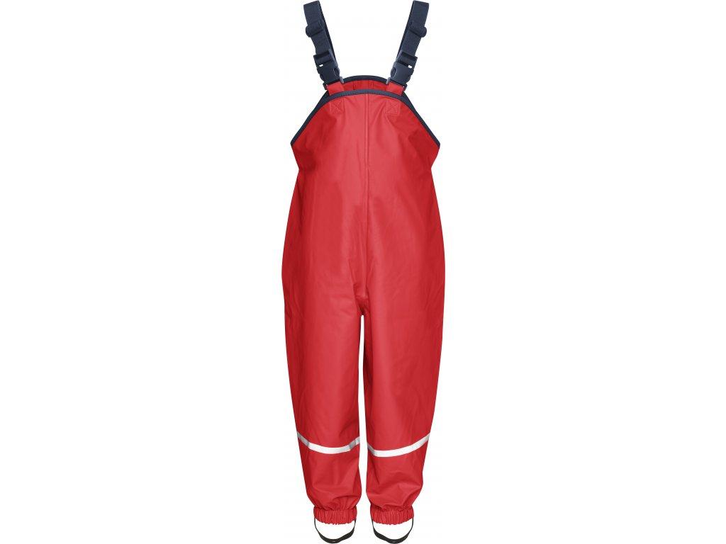 Nohavice do dažďa s bavlnenou podšívkou červené