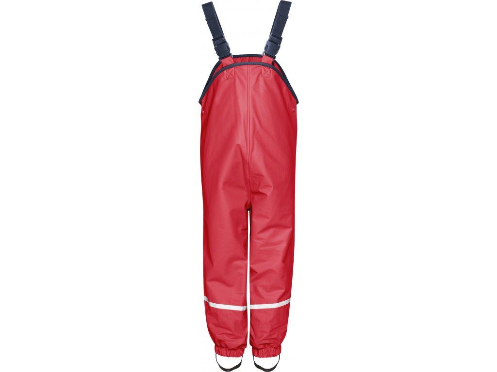 Nepremokavé nohavice na traky  s fleecovou podšívkou červené