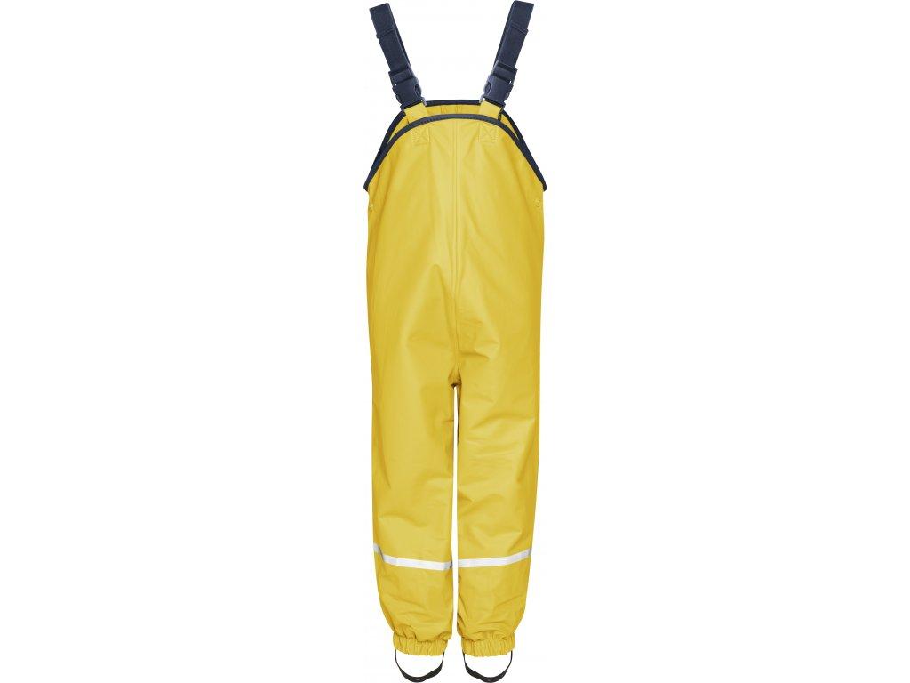 Nepremokavé nohavice na traky s fleecovou podšívkou žlté