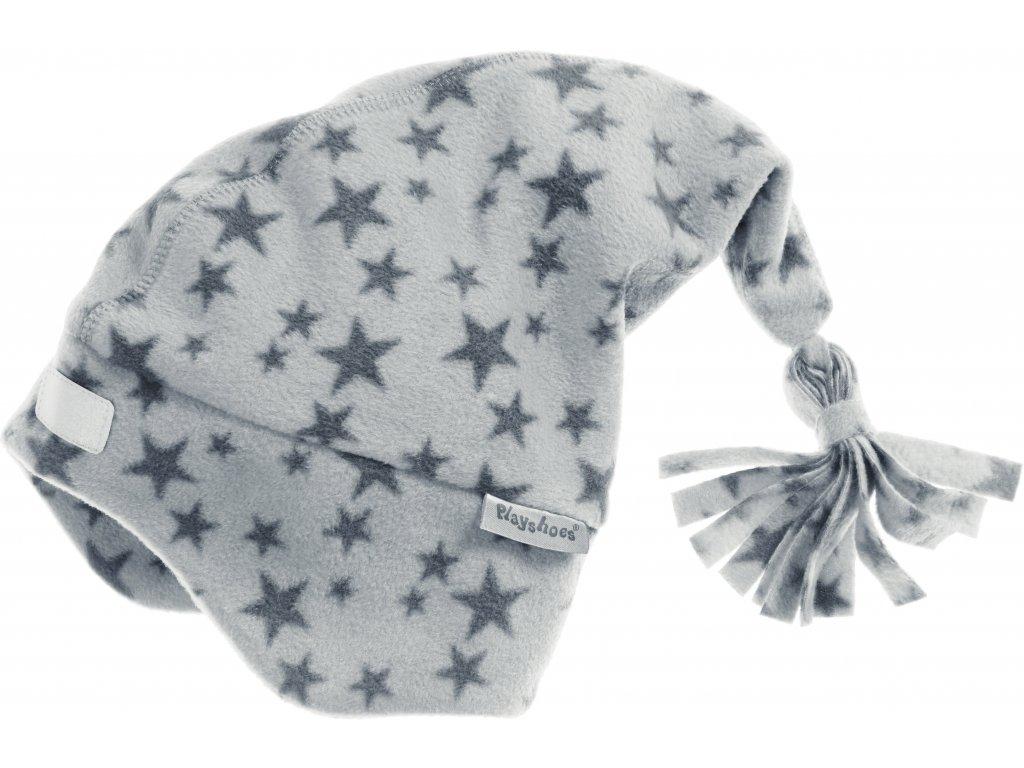 Fleecová čiapka hviezdičková sivá