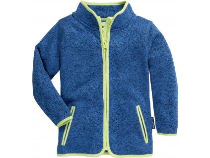 Fleecová mikina pletená modrá