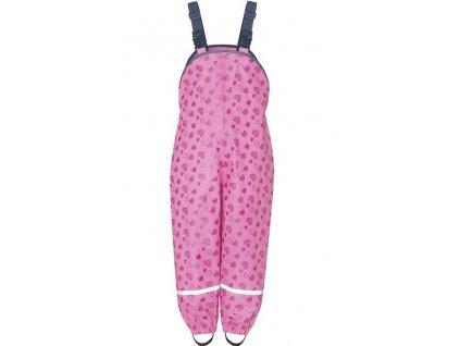 Nepremokavé nohavice na traky Srdiečka ružové