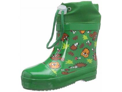 Detské gumáky nízke zateplené Les - zelené