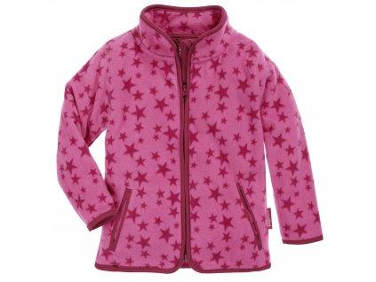 Fleecová mikina hviezdičková ružová