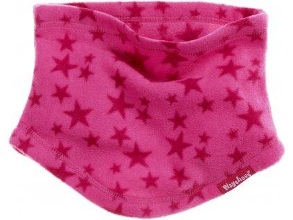 Fleecový nákrčník hviezdičkový ružový