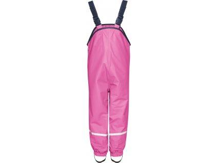 Nepremokavé nohavice na traky s fleecovou podšívkou ružové