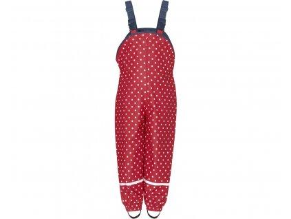 Nepremokavé nohavice na traky bodkované červené