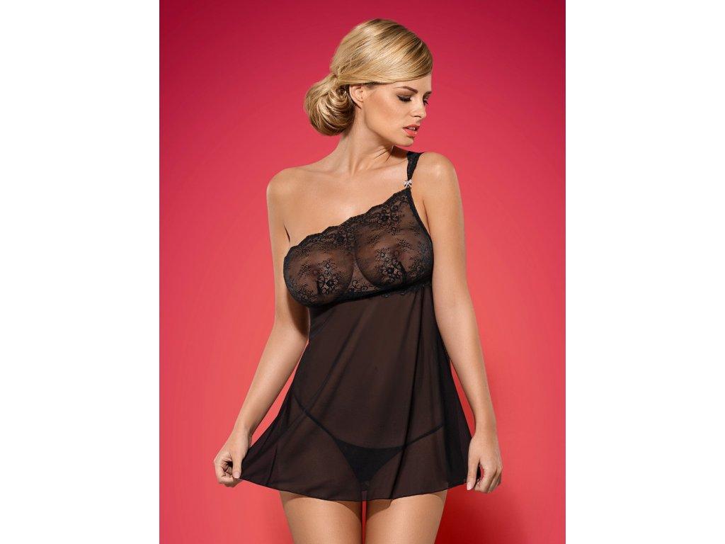 # Košilka Merossa babydoll - Obsessive (Barva Černá, Velikost L/XL)